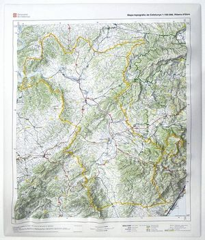 Mapa Topografic De Catalunya.Ribera D Ebre Mapa Topografic De Catalunya En Relleu 1 100 000 62 5cm X 55 5cm