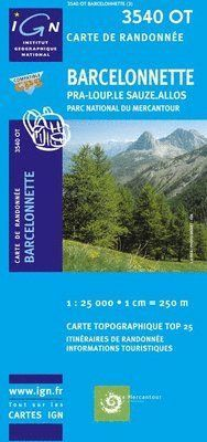 3540 OT BARCELONNETTE 1:25.000- TOP 25 IGN