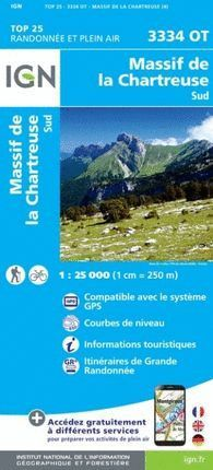3334 OT MASSIF DE LA CHARTREUSE SUD 1:25.000   *