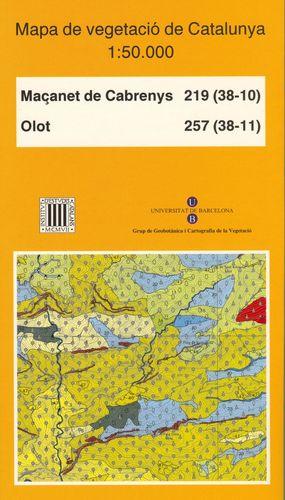 MAPA DE VEGETACIÓ DE CATALUNYA E 1:50.000 MAGANET DE CABRENYS 219 (38-10) ; OLOT 257 (38-11) *