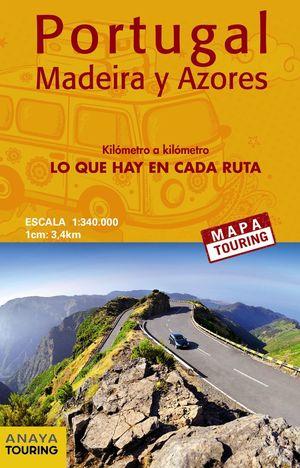 MAPA DE CARRETERAS DE PORTUGAL, MADEIRA Y AZORES 1:340.000