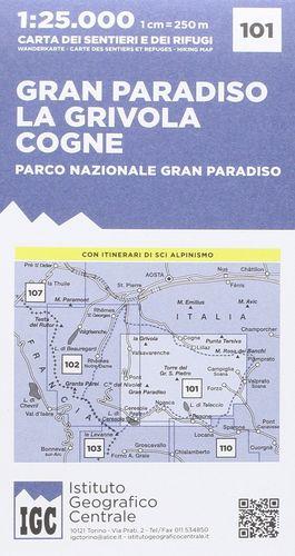 101 GRAN PARADISO - LA GRIVOLA - COGNE. E.1:25,000 *